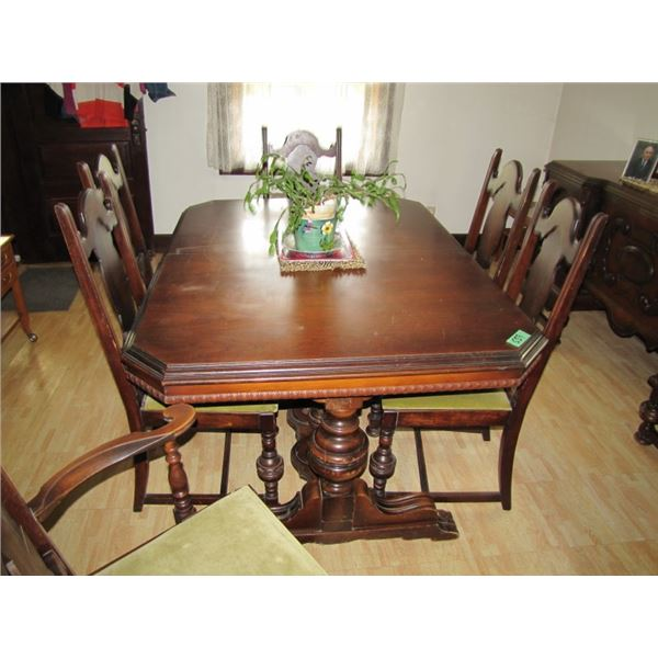 solid wood dining room table, buffet and china cabinet - with 6 chairs in