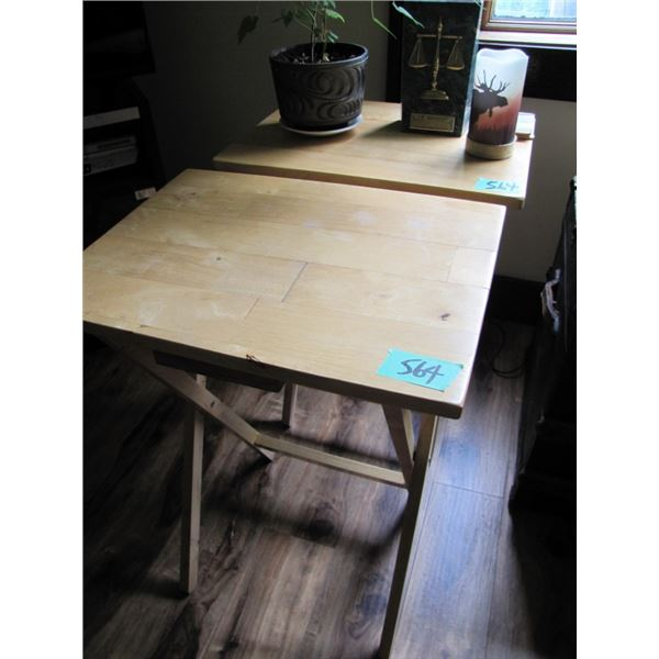 set of 2 wood TV tables