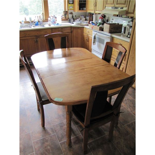 wood kitchen table with leaf and 4 chairs