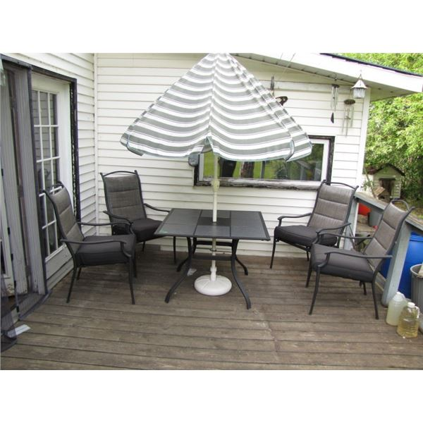 patio table, umbrella and 4 chairs