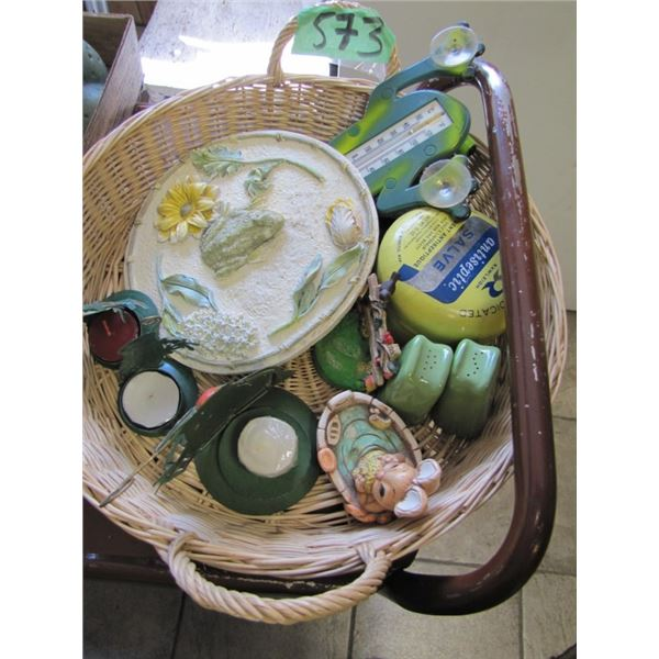 basket with thermometers wall plaque, salt & pepper shakers candles