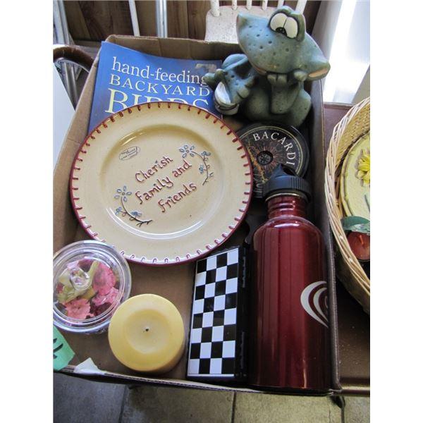 water bottle, frog, backyard birds book