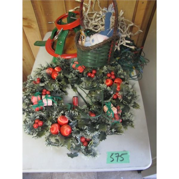 Christmas decorations and small table