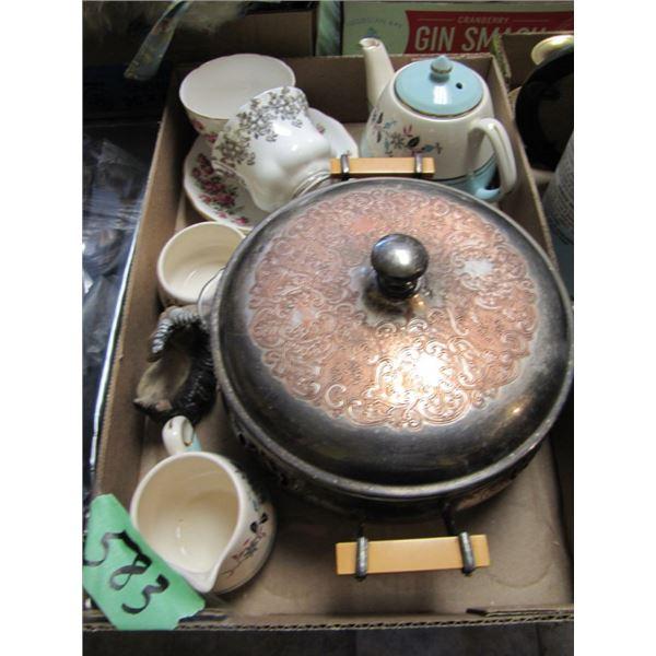 teacups, silver server