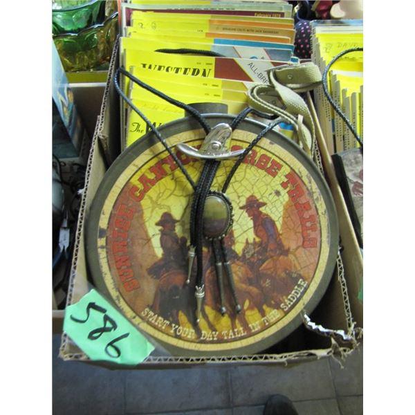 bolo ties, Western horseman magazines, canteen