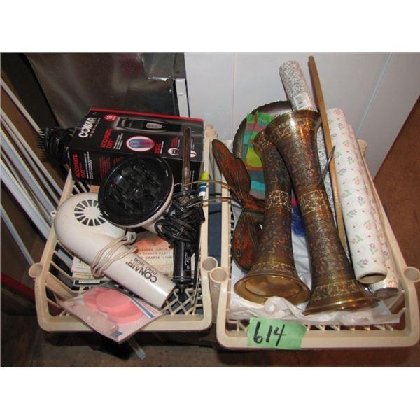 hair dryer, brass vases Exedra