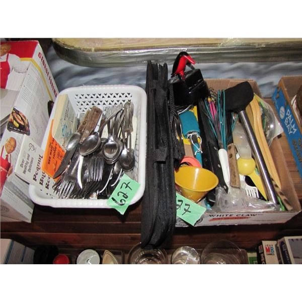 lot of two boxes cutlery and kitchen utensils