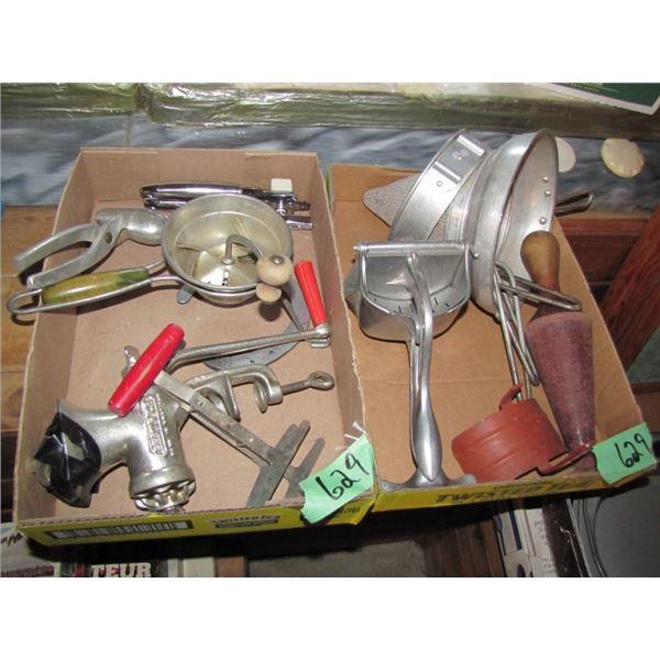 meat grinder, fruit press, and other kitchen utensils