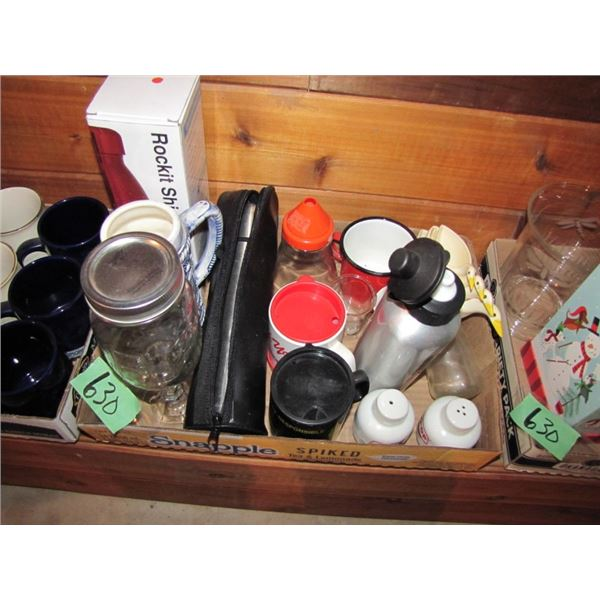 lot of three boxes of mugs, vases,etc