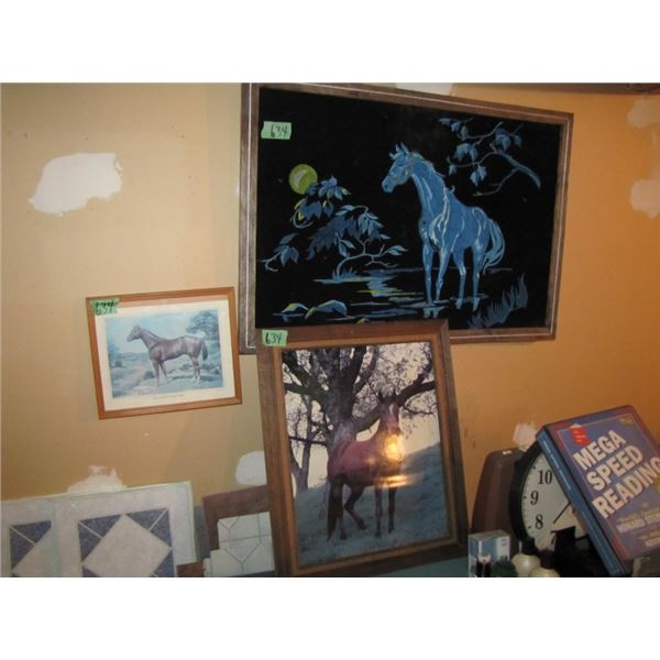lot of three horse pictures. One is a velvet painting
