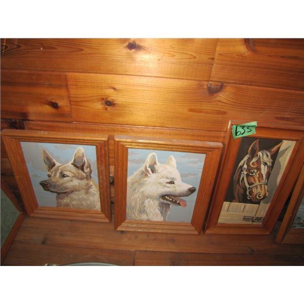 lot of five various Animal paintings