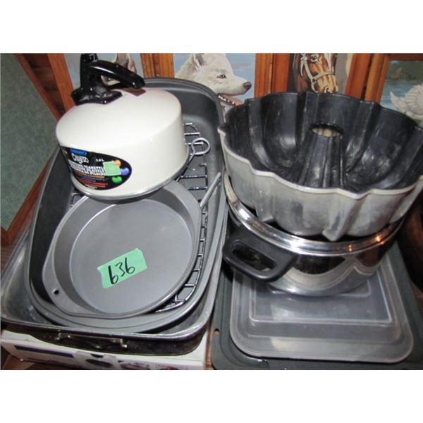 roaster, kettle,  cake pan etcetera