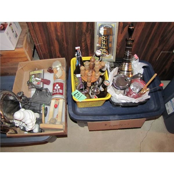 3 boxes of back bar items