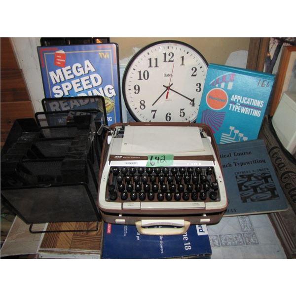 typewriter, clock, desk organizers