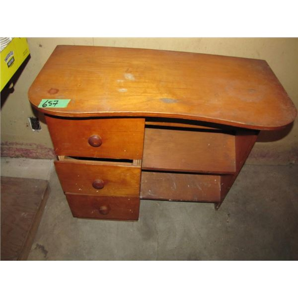 small desk with shoe storage