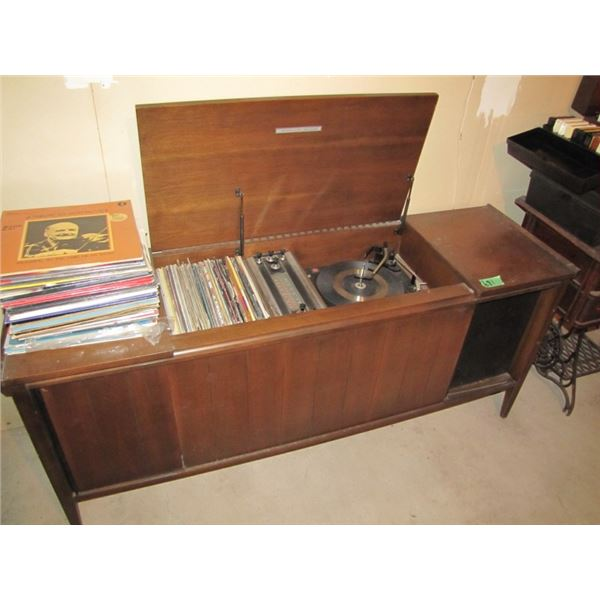 cabinet stereo with records