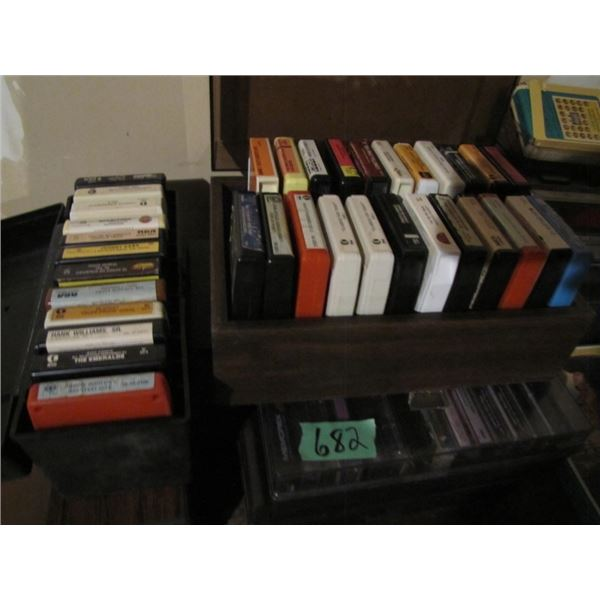 8 track and cassette tapes and player