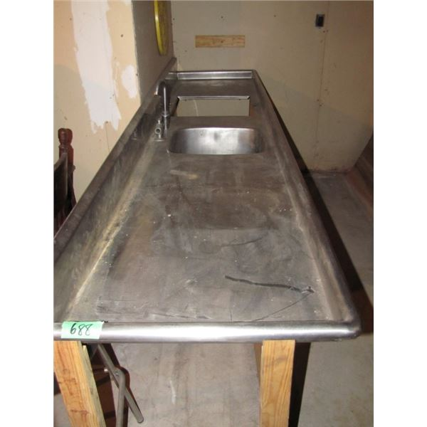 stainless steel sink 85 inches long and 26 inches deep