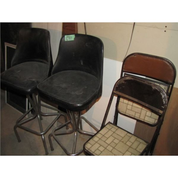 lot of two bar stools and 2 folding chairs