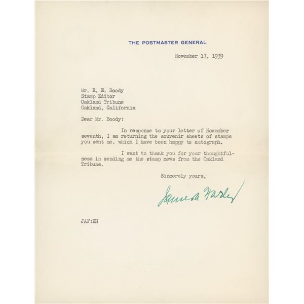 James A. Farley signed letter