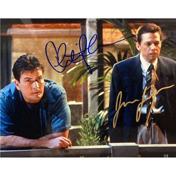 Two and a Half Men Charlie Sheen and Jon Cryer signed photo