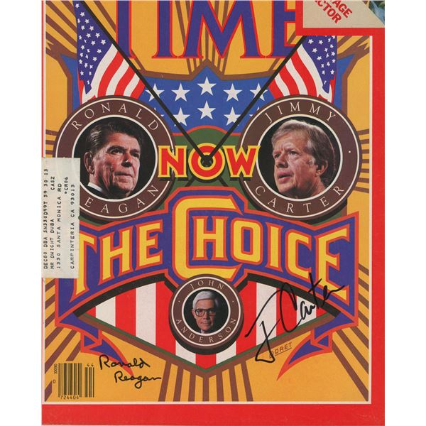 Ronald Reagan and Jimmy Carter signed Time magazine