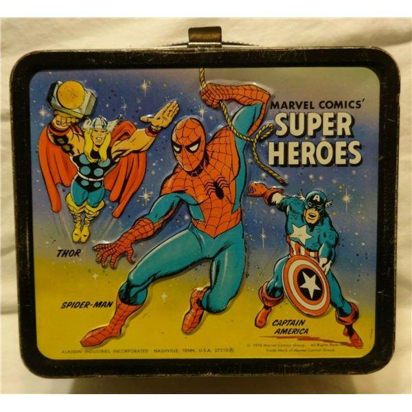 1976 Marvel Comics Super Heroes Lunchbox Hulk Spider-Man Iron Man Fantastic Four