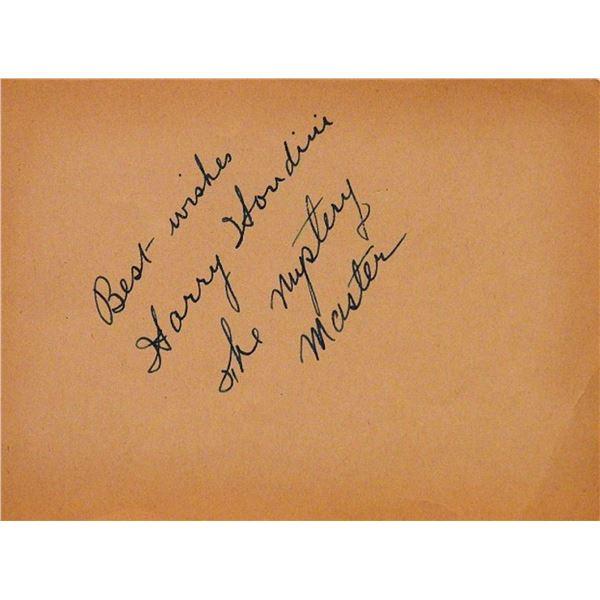 Harry Houdini signature slip