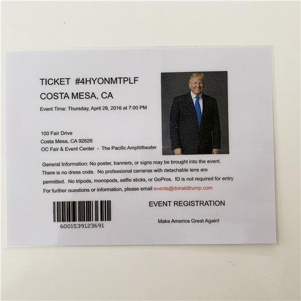 Donald Trump 2016 MAGA Rally Event Ticket- Costa Mesa