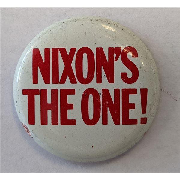 """Richard Nixon Campaign Pin - """"Nixon's The One!"""""""