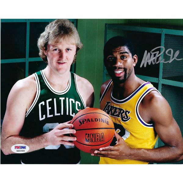 LA Lakers Magic Johnson signed photo. PSA