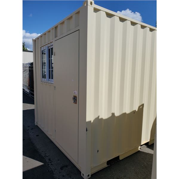 """PORTABLE OFFICE CONTAINER W87"""" X L108"""" X H99"""" WITH WINDOW AND LOCKING MAN DOOR"""