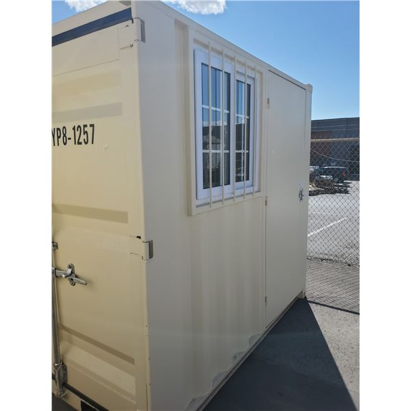 """PORTABLE OFFICE CONTAINER W78"""" X L98"""" X H89"""" WITH WINDOW AND LOCKING MAN DOOR"""