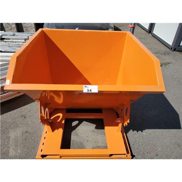 GREATBEAR ORANGE METAL INDUSTRIAL FORKLIFT DUMP BIN W43  X L43  X H37