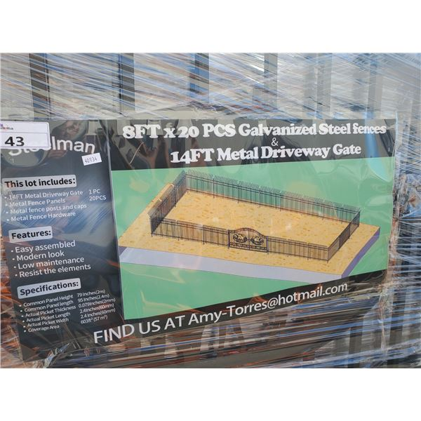 STEELMAN BLACK 8' X 20PCS GALVANIZED STEEL FENCING SYSTEM AND 14' BI-PARTING DRIVEWAY GATE WITH
