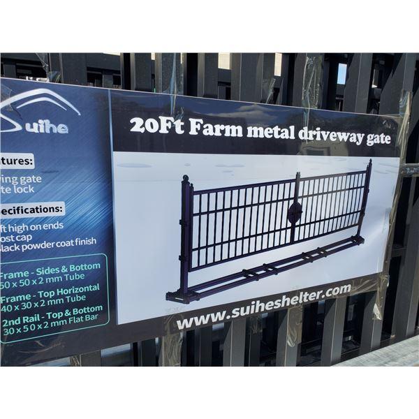 SUIHE 20' BI-PARTING BLACK METAL FRAME DRIVEWAY GATE L20' X H5'