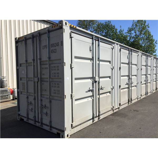 GREY 40' 52,910 MAX CAPACITY INDUSTRIAL TRANSPORT CONTAINER WITH 4 DUAL SWING SIDE DOORS, 1 REAR