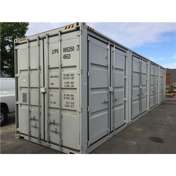 *W GREY 40' 52,910 MAX CAPACITY INDUSTRIAL TRANSPORT CONTAINER WITH 4 DUAL SWING SIDE DOORS, 1 REAR
