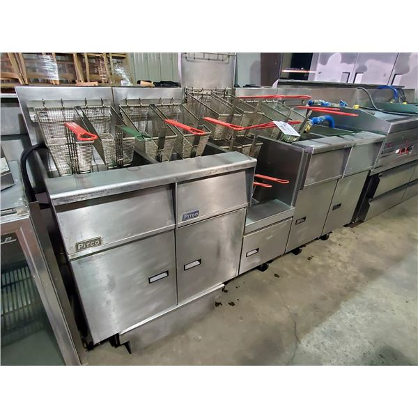 PITCO SGH-50 STAINLESS STEEL COMMERCIAL GAS 4 BAY FRYER WITH 14 FRYING BASKETS