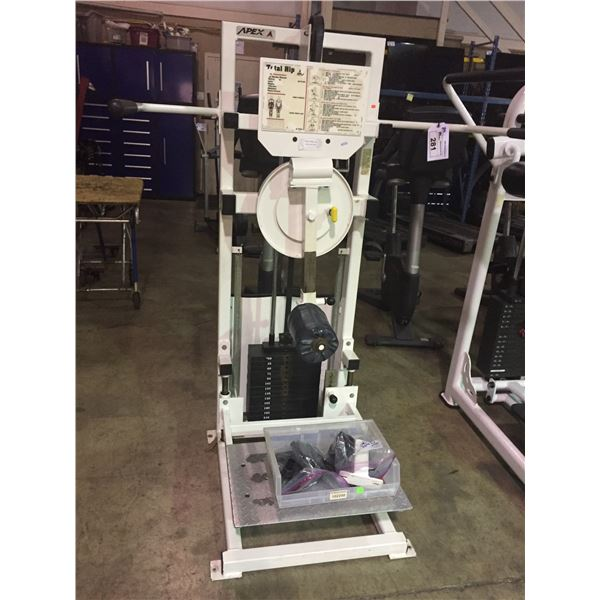APEX COMMERCIAL VARIABLE WEIGHT TOTAL HIP MACHINE (MISSING WEIGHT PIN)