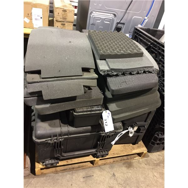PALLET OF ASSORTED HEAVY DUTY PORTABLE CARRY CASES WITH PROTECTIVE FOAM INSERTS