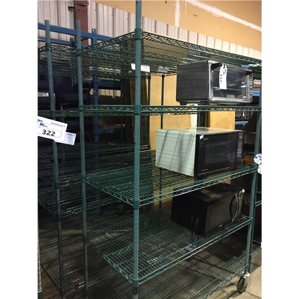 """2 - 5 TIER GREEN EPOXY COATED MOBILE METRO STYLE RACKING W60"""" X D24"""" X H80' AND"""