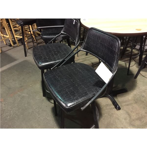 PAIR OF BLACK LEATHER STYLE BAR HEIGHT STOOLS