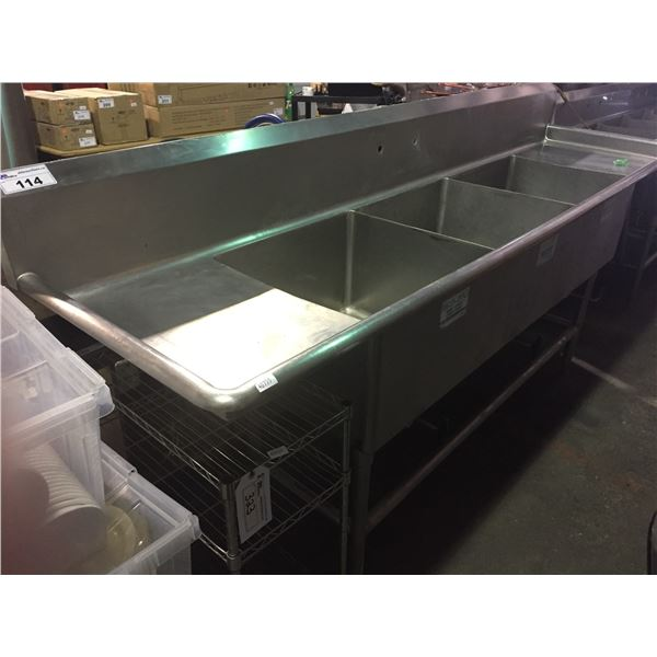 STAINLESS STEEL COMMERCIAL 3 SINK WASH STATION