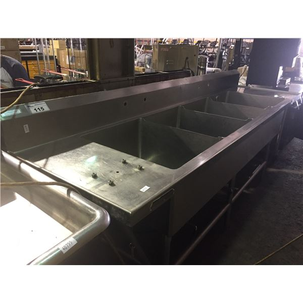 STAINLESS STEEL COMMERCIAL 4 SINK WASH STATION