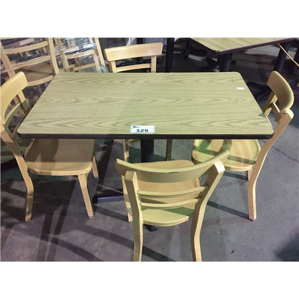 """RECTANGULAR LIGHT WOOD COLOURED TABLE W42"""" X D24"""" X H30"""" WITH 4 ALUMINUM LIGHT WOOD COLOURED CHAIRS"""