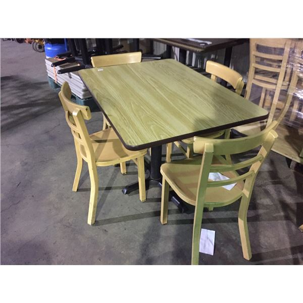 """RECTANGULAR LIGHT WOOD COLOURED TABLE W42"""" X D30"""" X H30"""" WITH 4 ALUMINUM LIGHT WOOD COLOURED CHAIRS"""