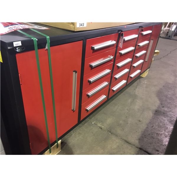 "RED STEELMAN 15 DRAWER WORK BENCH H36"" X W113"" X D29"" WITH ANTI-SLIP LINING"