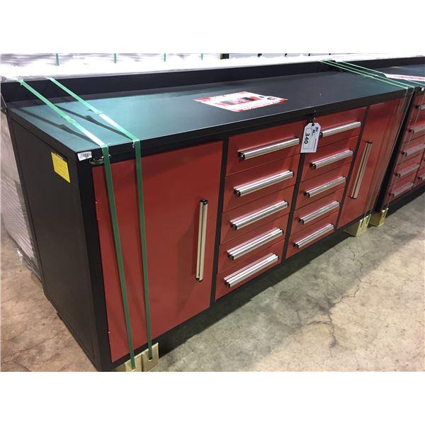 """RED STEELMAN 10 DRAWER 2 DOOR WORK BENCH H36"""" X W88"""" X D26"""" WITH ANTI-SLIP LINING"""