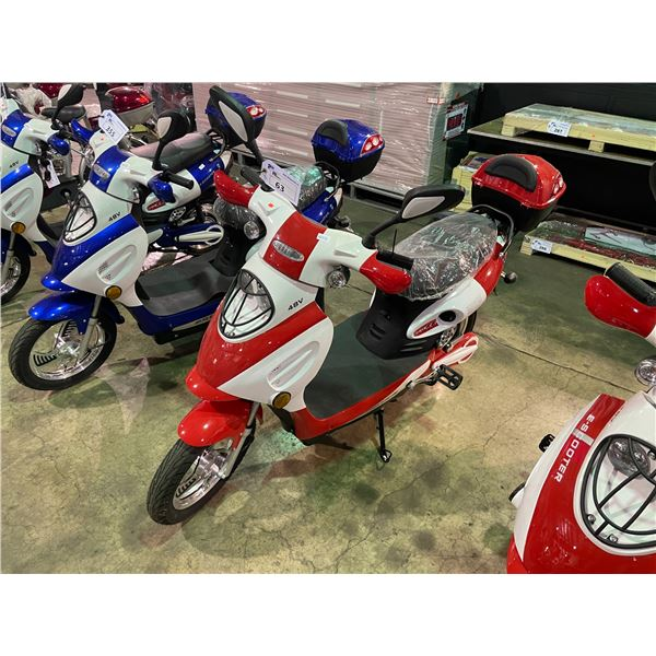 WHITE/RED E-70RR ELECTRIC SCOOTER 220LBS CAPACITY, MAX SPEED 32KM/H
